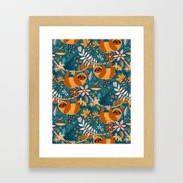 Happy Boho Sloth Floral Framed Art Print