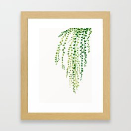 String of pearls #2 in green - ink painting Framed Art Print