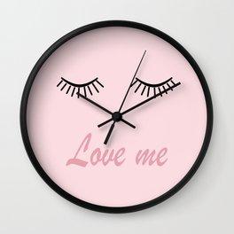 Love me #love #pink Wall Clock