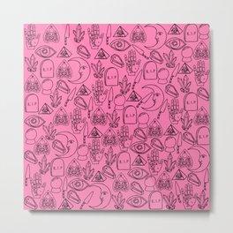 Pink Halloween Pattern Metal Print