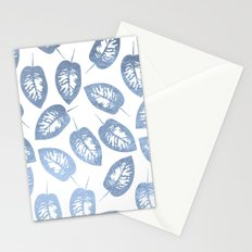 Blue leaves pattern Stationery Cards