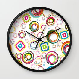 Colorful Funky Retro Circle Pattern Wall Clock