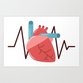 Heart with Monitor Line Art Print