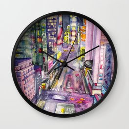 Locomotion, hand painted watercolor print of New York's Time Square at Nights Wall Clock