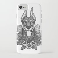 doberman iPhone & iPod Cases featuring Doberman & Daisies by Britt Sorensen