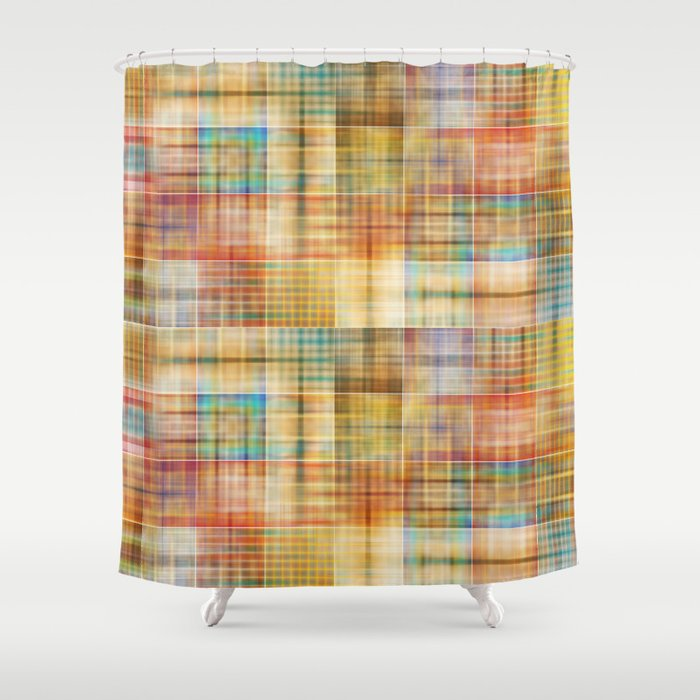 Multicolored patchwork mosaic pattern Shower Curtain by annaki ...