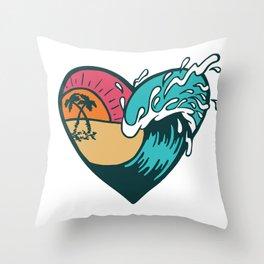 Wave Heart Throw Pillow