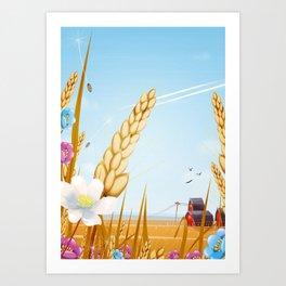 The farm on a sunny day. Art Print