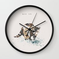 racoon Wall Clocks featuring Racoon Illustration by Caroline Campeau