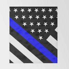 Police Flag: The Thin Blue Line Throw Blanket