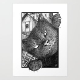 Malevolent One Eyed Black Cat in a Medieval Village Art Print