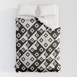 Diagonal squares in black and white Comforters