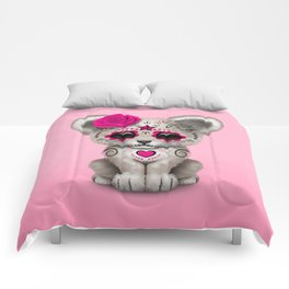 Pink Day of the Dead Sugar Skull White Lion Cub Comforters