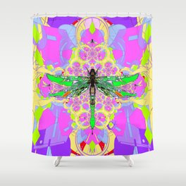 Emerald Green Dragonfly Pink Abstract Shower Curtain
