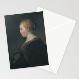 A Young Woman in Profile, with a Fan Stationery Cards