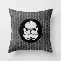 storm trooper Throw Pillows featuring Storm Trooper by Leslie Philipp