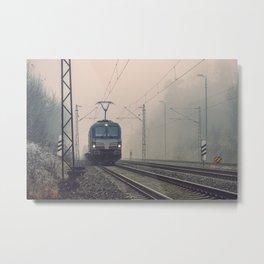 Electric locomotive in the fog Metal Print