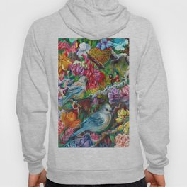 Bird and Butterfly Flower Collage Hoody