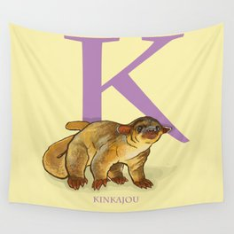 K is for Kinkajou: Under Appreciated Animals™ ABC nursery decor golden yellow unusual animals Wall Tapestry
