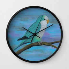 Cuddly blue quaker parrot Wall Clock