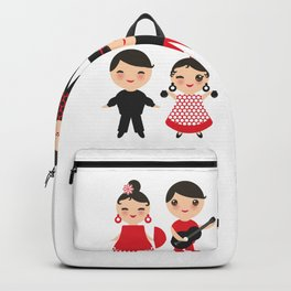 Spanish flamenco dancer. Kawaii cute face with pink cheeks and winking eyes. Gipsy Backpack