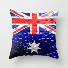 Flag of Austraila - Raindrops Throw Pillow