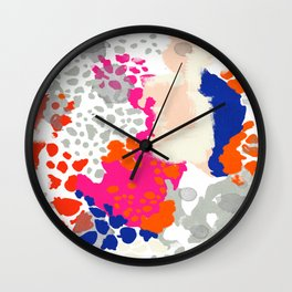 Mica - Abstract painting in modern fresh colors navy, orange, pink, cream, white, and gold Wall Clock