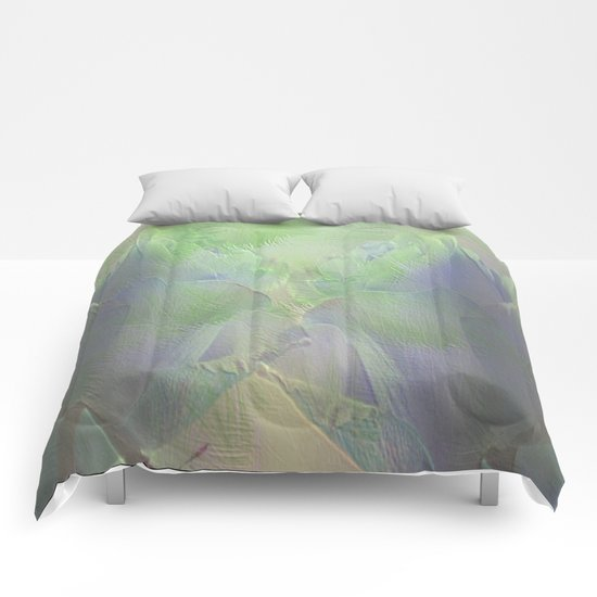 Painterly Mint Green and Lavender Roses Abstract Comforters