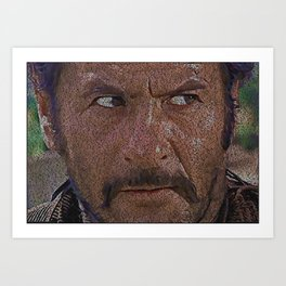 Text Portrait of Tuco Ramirez with full script of The Good, The Bad and The Ugly Art Print