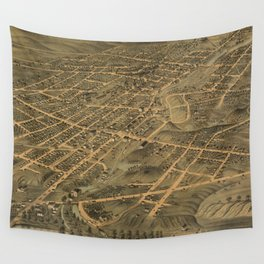 Vintage Pictorial Map of Akron Ohio (1870) Wall Tapestry