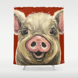 Pig Art, Farm Animal, Cute Pig Art Shower Curtain