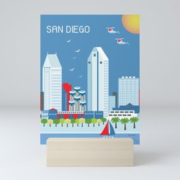 San Diego, California - Skyline Illustration by Loose Petals Mini Art Print