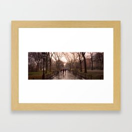 Washington Square Park in Rain. Framed Art Print