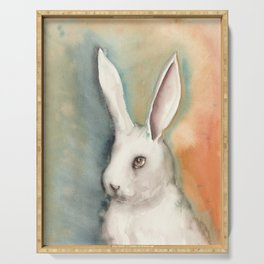 Portrait of a White Rabbit Serving Tray
