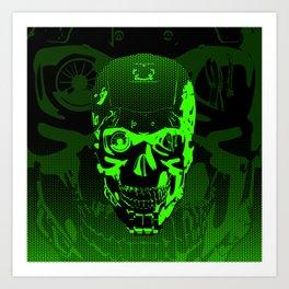 Gamer Skull CARTOON GREEN / 3D render of cyborg head Art Print