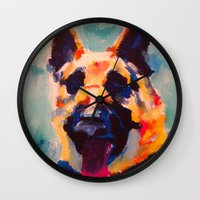 german shepherd Wall Clocks featuring German Shepherd by Heather Hartley