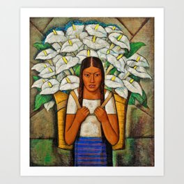 Young Guadalajara Flower Seller with Calla Lilies by Diego Rivera Art Print