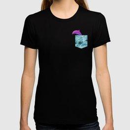 Vaporwave Dolphin Gift Water Pocket shape design T-shirt