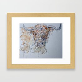 Highland cow line drawing. Framed Art Print