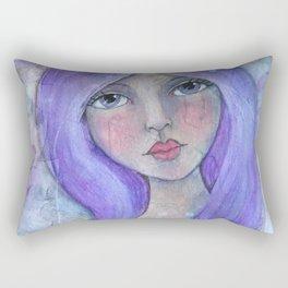 Purple Hair Whimiscal Girl Rectangular Pillow