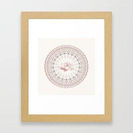 Cream Rose Lotus and Mandala Framed Art Print