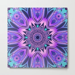 The floral kaleidoscope in pink, purple, blue and turquoise Metal Print