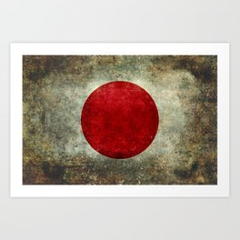 Japanese Flag in grungy retro style Art Print