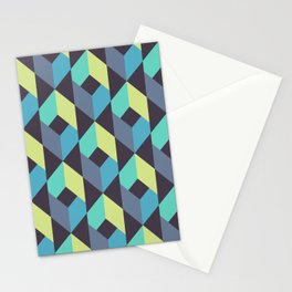 Vector Seamless Tile Pattern. Mix of Repeated Green and Blue Rhombuses Shapes Stationery Cards