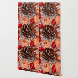 Rosa coxis in arbores autumnales Wallpaper