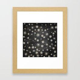 Boho Black Snowflakes Framed Art Print