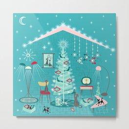 Retro Holiday Decorating Metal Print
