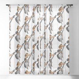 Guitar Pinup Girl Sheer Curtain