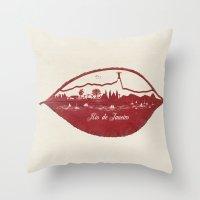 rio de janeiro Throw Pillows featuring Rio de Janeiro Skyline by Paula Belle Flores