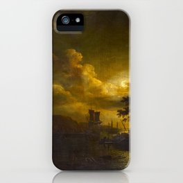 Abraham Pether - Coast Scene by Moonlight (1790s) iPhone Case